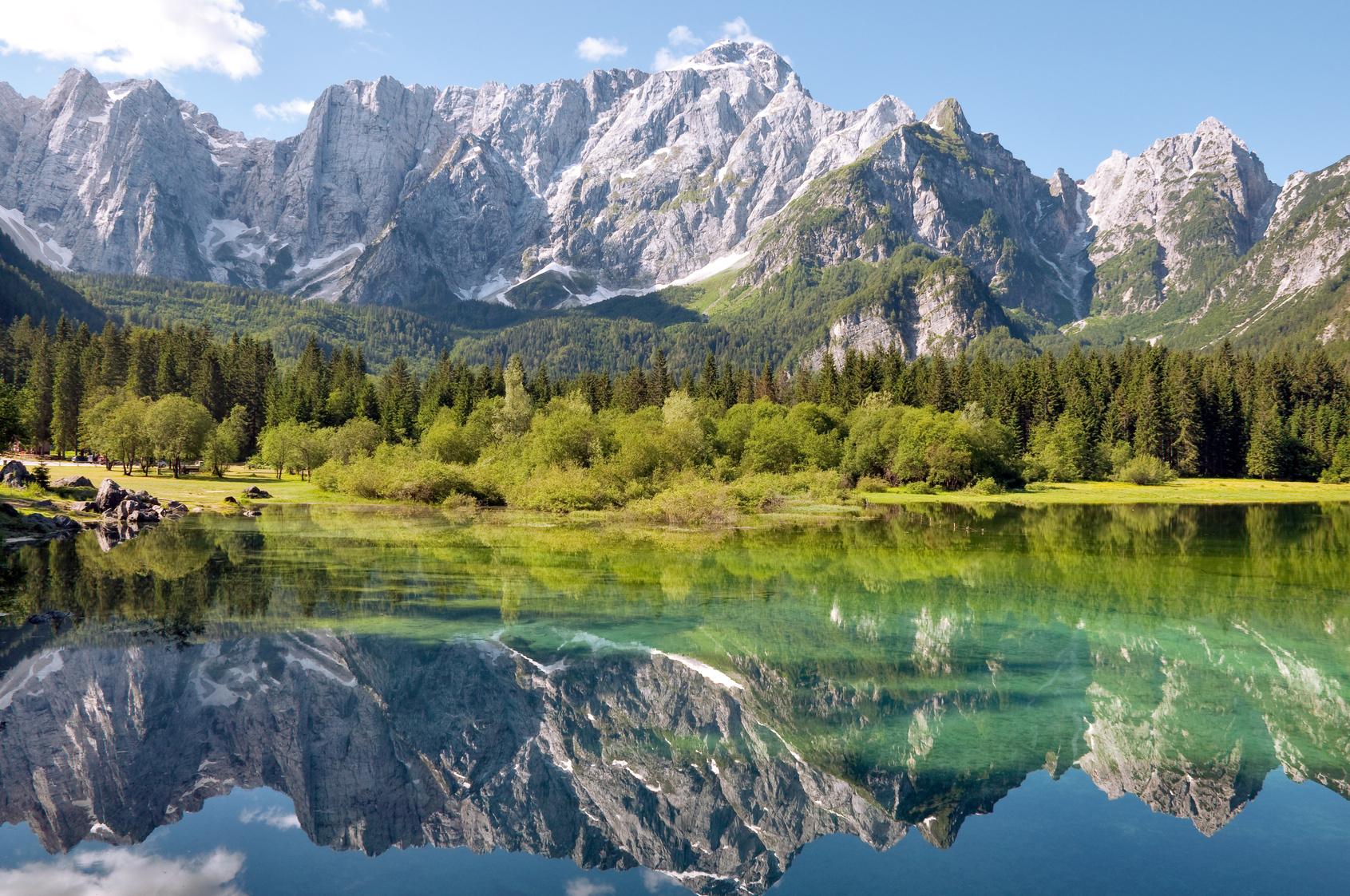 Italia - Udine - Lago di Fusine and monte Mangart reflex on lake